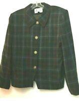 Le Suit Women's Brown/Green Plaid Blazer 4 Decorative Button Long Sleeve Size 12