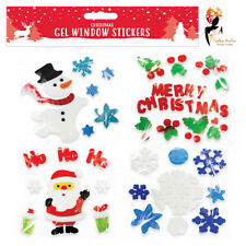 Christmas Xmas Gel Clings Window Glass Stickers Decorations Assortment 4 Designs