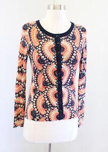 Tabitha Anthropologie Odval Geometric Print Cardigan Sweater Size XS Orange Blue