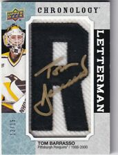 "18-19 UD CHRONOLOGY LETTERMAN PATCH LETTER AUTO PENGUINS ""R"" TOM BARRASSO 13/15"