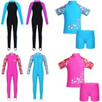 Kids Girls Long Sleeve Rash Guard Sunsuit UV Protect Surfing Bathers Swimwear