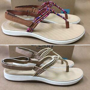 NEW Sperry Seabrook Elsie Flip-Flop Ikat-Print Sandals Linen Python/Tan Stripe