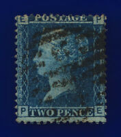 1858 SG45 2d Blue Plate 9 LC Type II G2 PE Misperf Good Used Cat £25 cpqd
