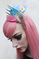 Mermaid Shell Painted Flower Hair Clip Bridal Races Fae Festival Fascinator