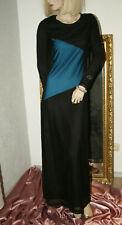 Langes Kleid * Stretchkleid * Abendkleid schwarz türkis elegant edel nw S