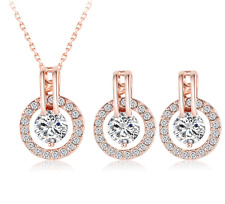 New 2017 Bridal Wedding Jewelry Sets Rose Gold Plated Necklace/Earrings