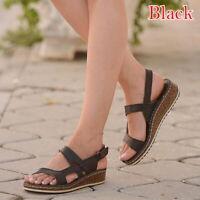 Women Ankle Strap Flatform Wedges Shoes Espadrilles Summer Platform Sandals.