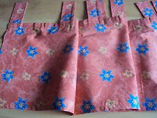 2 Kurzgardinen Scheibengardinen Panneaux B/H 200 x 40 rot mit Blumen Schlaufen