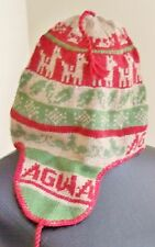 NWT- AGWA GEAR ALPACA BLEND BEANIE/ CAP WITH EARFLAP & TIE HAT - RED/ TAN/ GREEN