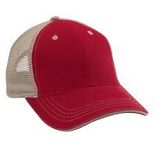 Wholesale 12 Blank Trucker Hats Bright Red/Khaki Cotton /Mesh Embroider/Screen