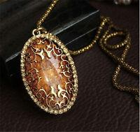 Womens Elegant Jewelry Oval Amber Hollow Rhinestone Long Chain Pendant Necklace