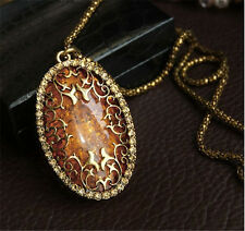 Womens Elegant Jewelry Oval Amber Hollow Rhinestone Long Chain Pendant Necklace