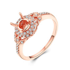Engagement & Wedding 0.3CT Real Diamond Semi Mount Round 5mm 18K Rose Gold Ring
