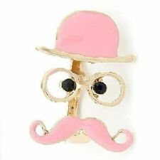 Moustache Blogger Ring Double Glasses Bart Schnurrbar T Hat Pink New