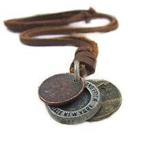 Men Women Vintage Retro 3 Coin Pendant Charm Choker Genuine Leather Necklace Hot