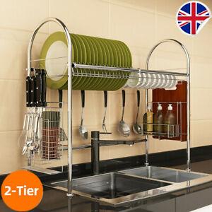 UK Dish Drying Rack Over Sink Space Saver Utensils Holder Home Storage w/6 Hooks
