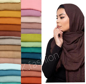 High Quality Crimp Crinkle Style Maxi Big Size Hijab Scarf Scarves 80 Colours