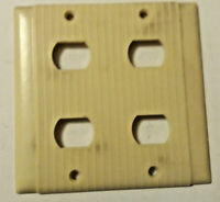 Vintage Uniline Ribbed Bakelite Ivory 2 Gang 4 Despard Switch Plate Wall Cover