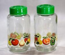 2 Vintage Kitchen Spice Glass Jars with Vegetable Design