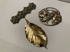 Three lovely vintage pins, sterling silver, marcasite, and gilded Flora Danica