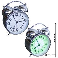 XXL  Weckker  Retro Chrom glänzend Tischuhr Weckfunktion Alarm Glockenwecker