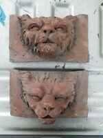 2 Lion Head Statue Resin Sculptures, from antique furniture restorer estate