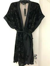 Rosie for Autograph Sleepwear - burnout black velour devore kimono robe - 8 & 10