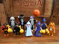 Playmobil Halloween Trick or Treat Figure Bundle - Vampire Devil Ghost Witch