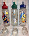 Vintage Gerber Looney Tunes Baby Bottle-8 Oz-Colored Nipples!! Rare!!Daffy,Bugs+