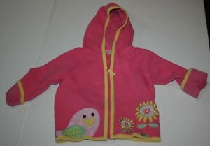 Used Hanna Andersson Girls 90 3 year Quilted Pink Jacket Bird Flower Coat Zips