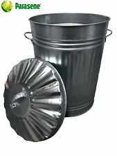 Cubo de Metal Galvanizado Grande de 110 L/Jardín/Residuos Basura// Reciclaje Cubo De Alimentación