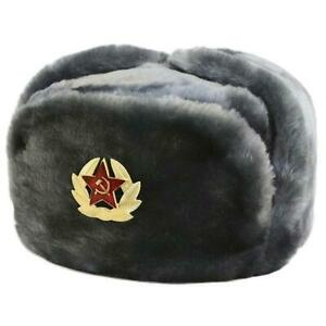 Russian Faux Fur Military Ushanka Hat w/Soviet Army Insignia (Black) US Seller