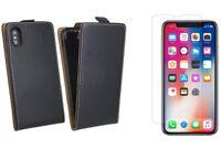 Flip Case Handy Tasche vertikal aufklappbar + 9H Schutzglas für iPhone Modelle