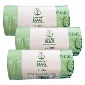 30 Litre x 75 CompostBag Compostable Food Waste Caddy Liner Bin Bags (30L)