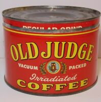 Vintage 1950s Old Judge OWL GRAPHIC KEYWIND COFFEE TIN 1 POUND St Louis Missouri