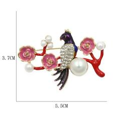 PARROT ON A BRANCH - ENAMEL, PEARLS & RHINESTONES - FREE UK P&P........CG0958
