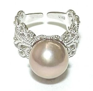 Cocktail Natural Purple Pink 11.5mm Edison Cultured Round Pearl Ring Size 7 - 8