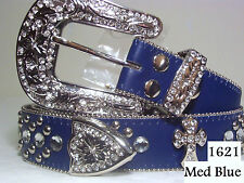 CHIC & SEXY WESTERN RODEO  Rhinestone Crystal BLUE BLING CROSS BELT Size Small