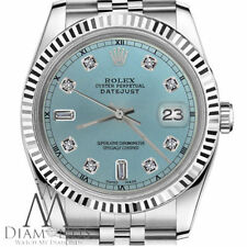 Ice Blue Color Rolex 26mm Datejust 8+2 Diamond Dial Stainless Steel & 18K Watch