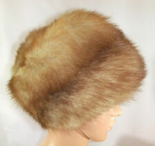Vintage Genuine Stone Marten Fur Zhivago Style Pillbox Women's Hat, 21.5""