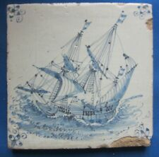 Antique Delft tile with galjon in rough sea- 17th century