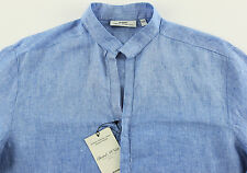 Men's MURANO Sea Blue Sexy Linen Shirt Medium M NEW NWT HOT!!