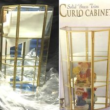 Vtg New Old Stock 13'' Glass and Brass Curio Case Cabinet 6-Sided / 3-Shelves