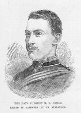 R.E GENGE chirurgo militare di waterston Dorset-antica stampa 1888