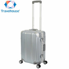 Travelhouse London 4-Rad Koffer S-55cm 47L Bordtrolley Bordkoffer Farbe Silber