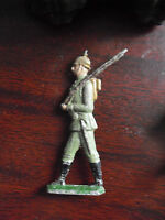 """Vintage 1940s Metal Thin Lead Toy Soldier with Rifle 2 3/4"""" Tall"""
