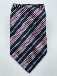 "NWOT STEFANO RICCI Pink and Navy Striped Pleated Mens 3.75"" Print Silk Tie"