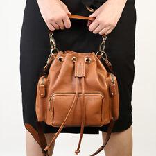 Womens Cross Genuine Leather Shoulder Tote Handbags Drawstring Bucket Bag Brown