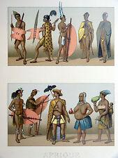 Cafres Zoulous CHROMOLITHOGRAPHIE ORIGINALE 19e s. Racinet AFRIQUE AUSTRALE