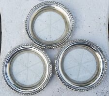 "ESTATE STERLING SILVER CUT GLASS COASTER LOT OF 3-STAR DESIGN-3 7/8"" NO MONOS"